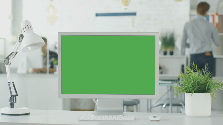 Close-up of a Green Screen on a Personal...