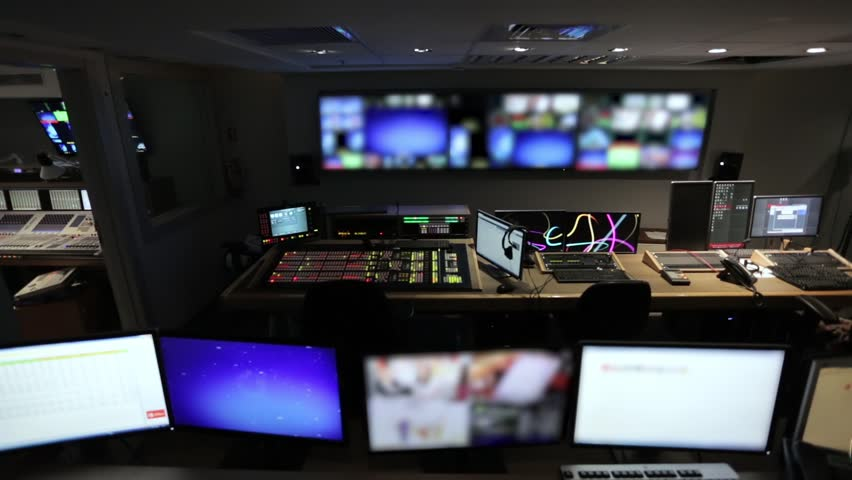 Broadcast Tv Studio Production - Vision Switcher, Control Room - Dolly Moving Right