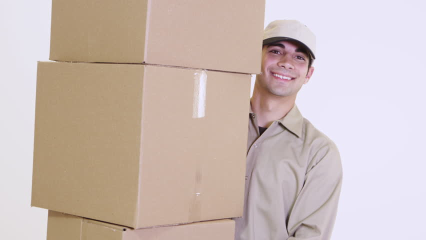 Postal worker with a bunch of boxes | Shutterstock HD Video #22527550