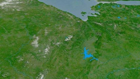 Revolution around Stanovoy mountain range - masks. Satellite imagery. High resolution ASTER GDEM data textured
