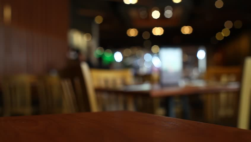 Table At Restaurant Blurred Background Stock Footage Video
