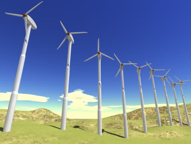 Computer-generated animation depicting a row of wind turbines