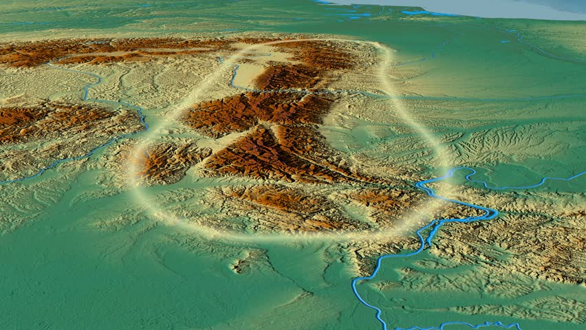 Glide over Transylvanian Alps mountain range - glowed. Relief map. High resolution ASTER GDEM data textured