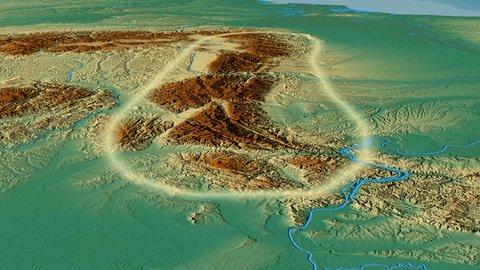 Glide over Transylvanian Alps mountain range - glowed. Relief map. High resolution ASTER GDEM data textured