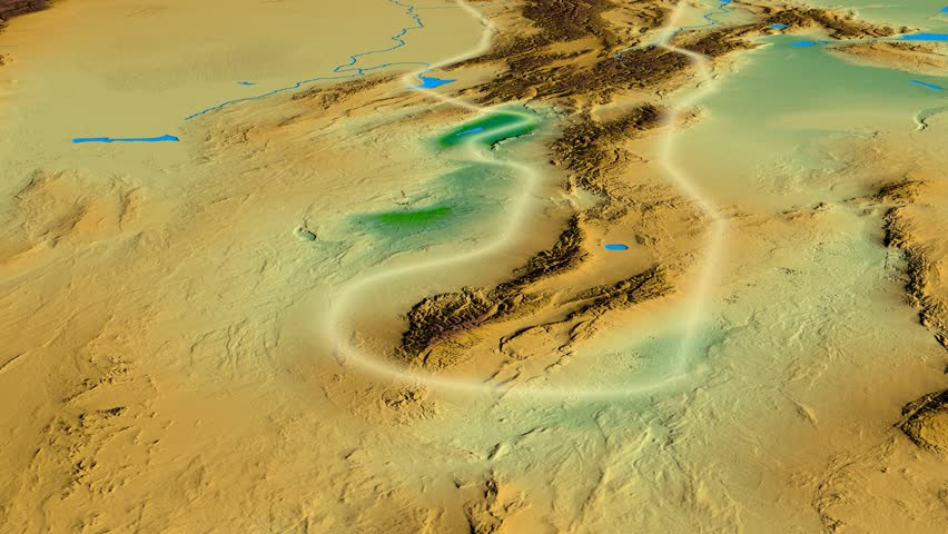Glide over Tian Shan mountain range - glowed. Colored physical map. High resolution ASTER GDEM data textured