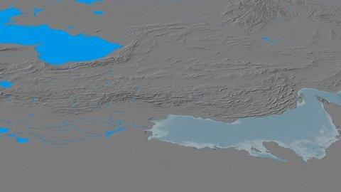 Revolution around Zagros mountain range - masks. Elevation map. High resolution ASTER GDEM data textured