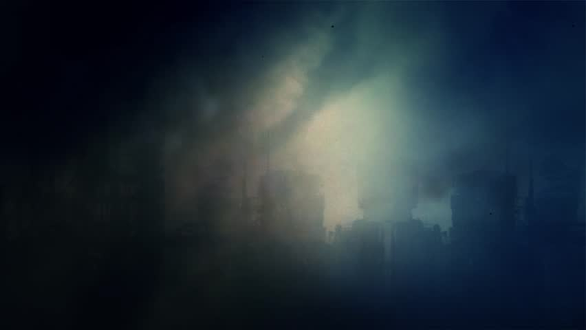 Deserted City After the Apocalypse Under a Lightning Storm
