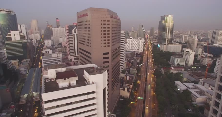 Dusk Over Silom District in Downtown Bangkok, Aerial Drone Shot | Shutterstock HD Video #22601371