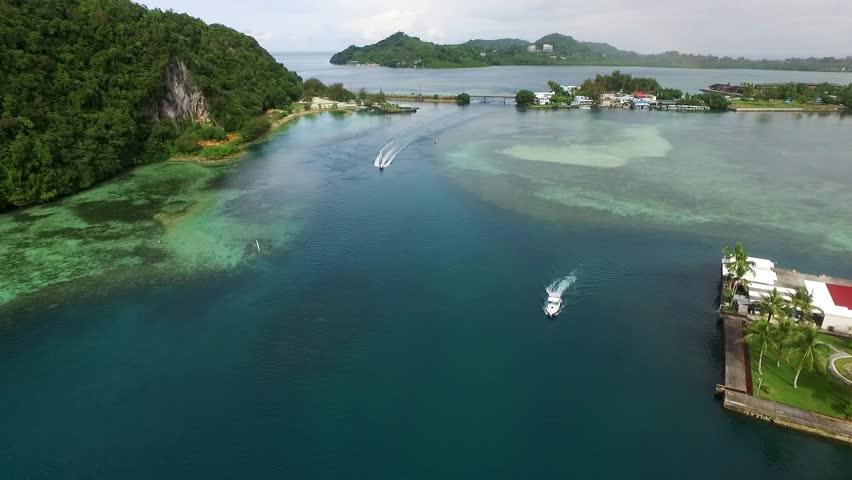 KOROR, PALAU - DECEMBER 08, 2016: Koror Island ir Palau Islands. Long Beach. Palau is an archipelago of over 500 islands, part of the Micronesia region in the western Pacific Ocean   Shutterstock HD Video #22602262