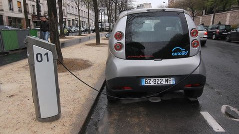 PARIS, FRANCE APRIL 9th: Electric car on April 9th, 2012.  In December 2011 the Autolib car rental company introduced a fleet of electric rental cars to the streets of Paris.