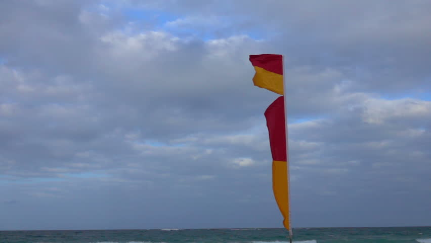 Sunshine Coast, Beach, Rescue Flag ,Slow Motion | Shutterstock HD Video #22668229