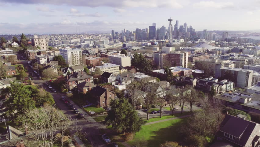 Seattle City Life Aerial Establishing Shot Queen Anne Downtown Neighborhood