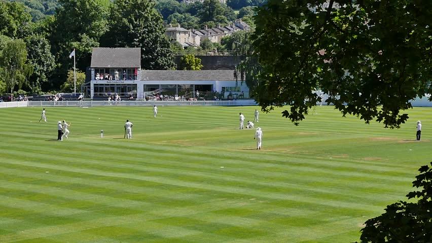 England,UK :cricket batsmen in action in summer.