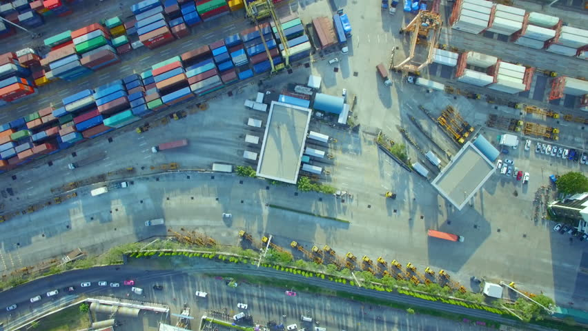 Container cargo ship, import export, business logistic supply chain transportation concept for shipping aerial view 90 degree background, 4K