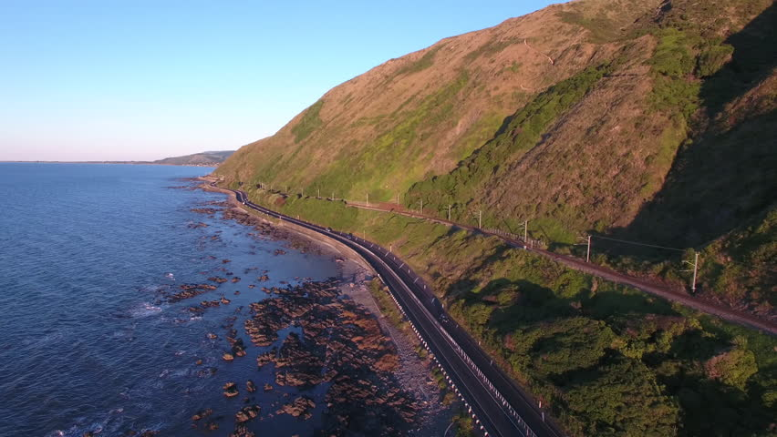 Aerial view of scenic highway on the Kapiti coast, New Zealand | Shutterstock HD Video #22725550