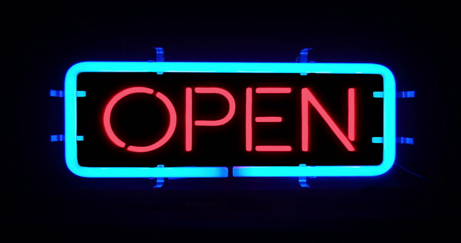 Flickering Blinking Blue Neon Sign On Black Background Open Bar Concept Stock Footage Video 22779040 Shutterstock