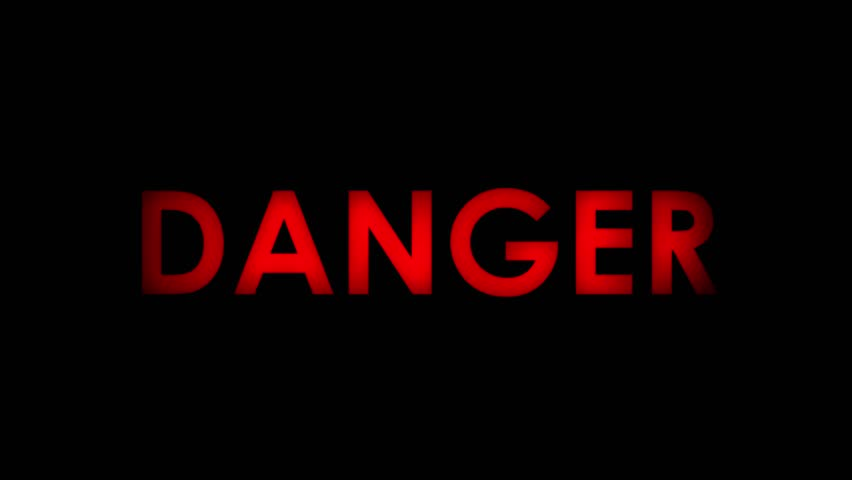Danger - Red flashing warning message text on black background. Two speeds. Seamlessly loopable. 4K.