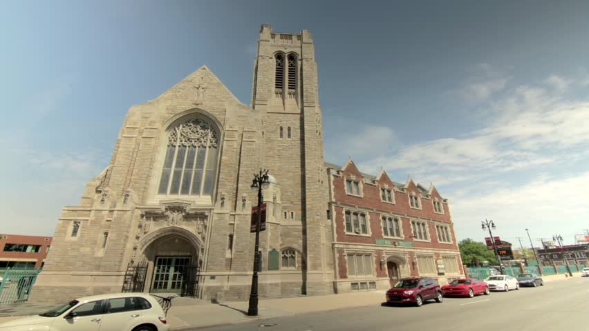 Exterior time lapse shot of Historic Trinity Lutheran church of Detroit, Michigan.   Shutterstock HD Video #22801420