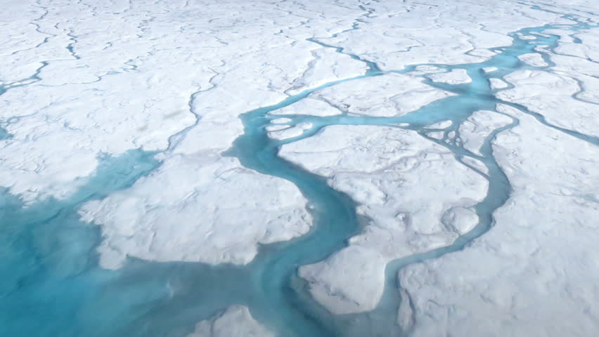 Cracking and melting of the polar ice shelf (sheet) in the Arctic. Perfect for videos about: Polar ice, the polar caps, global climate change, global warming, global warming, ice floes, glaciers