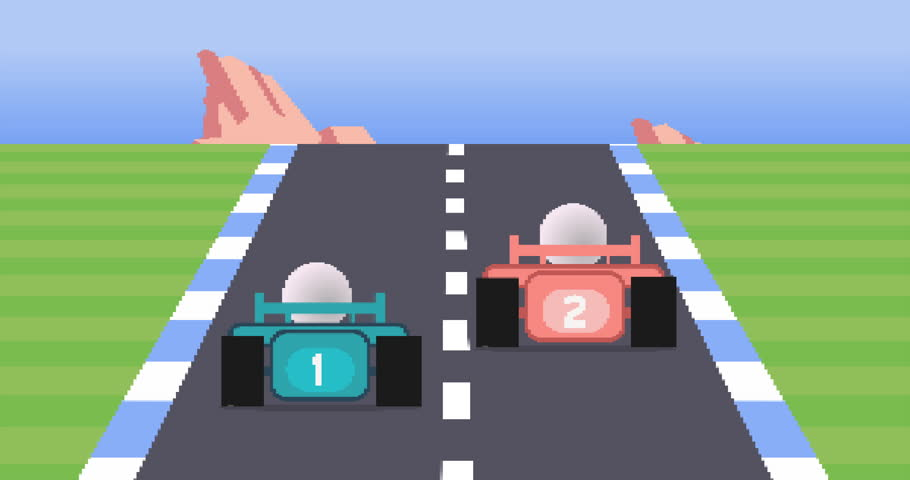 A simulated 1980s 8-bit racing video game animation.