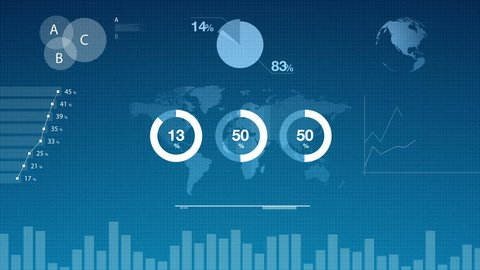 4k collection of animated infographics, charts and diagrams for science, technology, business, data analysis, economy or finance