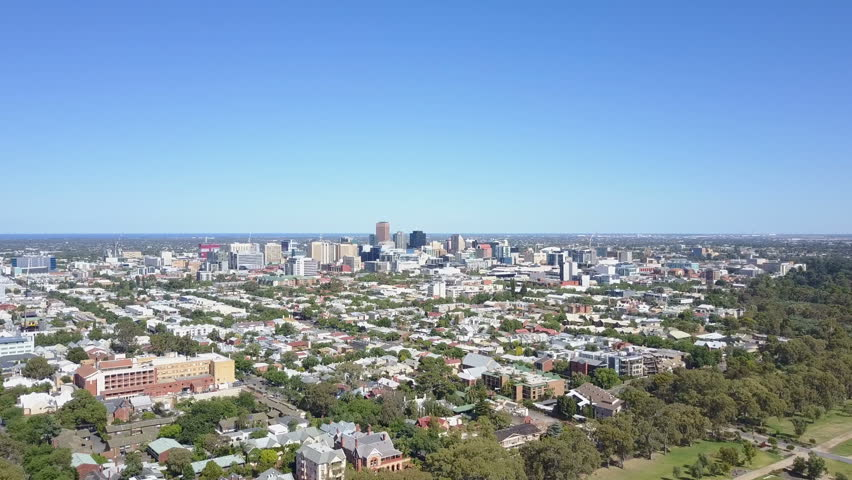 4k aerial video of flying towrads downtown Adelaide in Australia