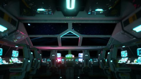space ship futuristic interior. Sunrise view from cabine. Galactic travel concept.