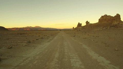 Trona Pinnacles Aerial Sunset 20 Mojave Desert near Death Valley