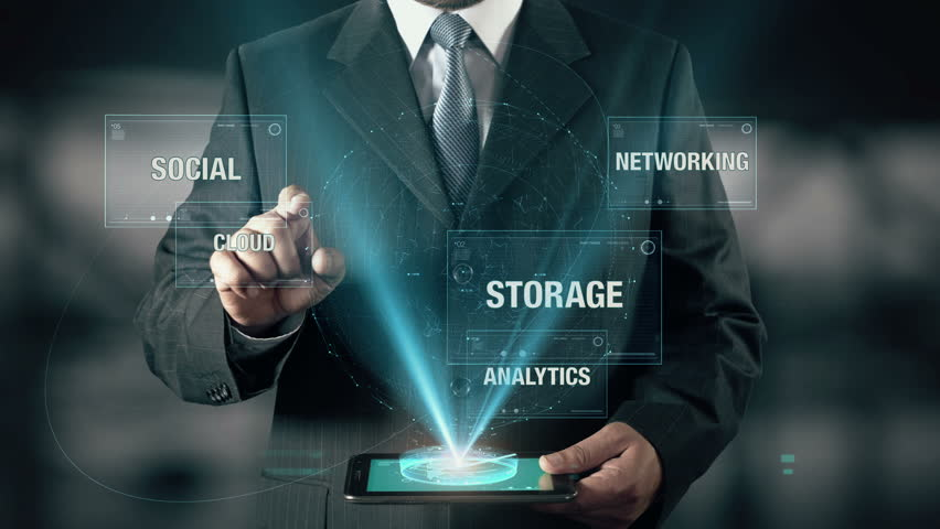 Businessman with Big Data concept choose Cloud from Analytics Social Networking Storage using digital tablet | Shutterstock HD Video #22885480