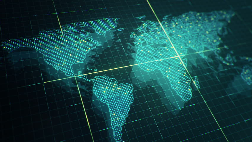 Abstract animation of World map in digital screen with colorful dots and lines. Animation of seamless loop. | Shutterstock HD Video #22911730