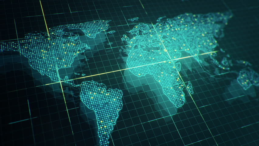 Abstract animation of World map in digital screen with colorful dots and lines. Animation of seamless loop. | Shutterstock HD Video #22911736
