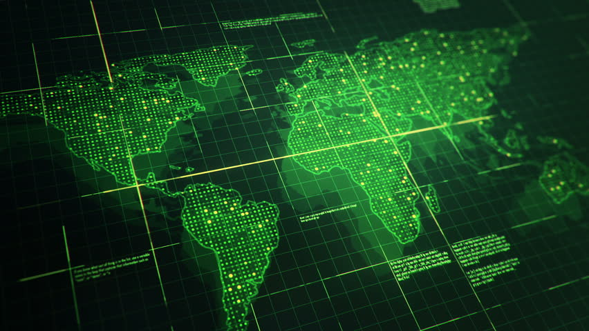 Abstract animation of World map in digital screen with colorful dots and lines. Animation of seamless loop. | Shutterstock HD Video #22911967