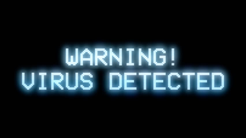 The screen of a PC showing a looping message: Warning - Virus Detected. Dark version.