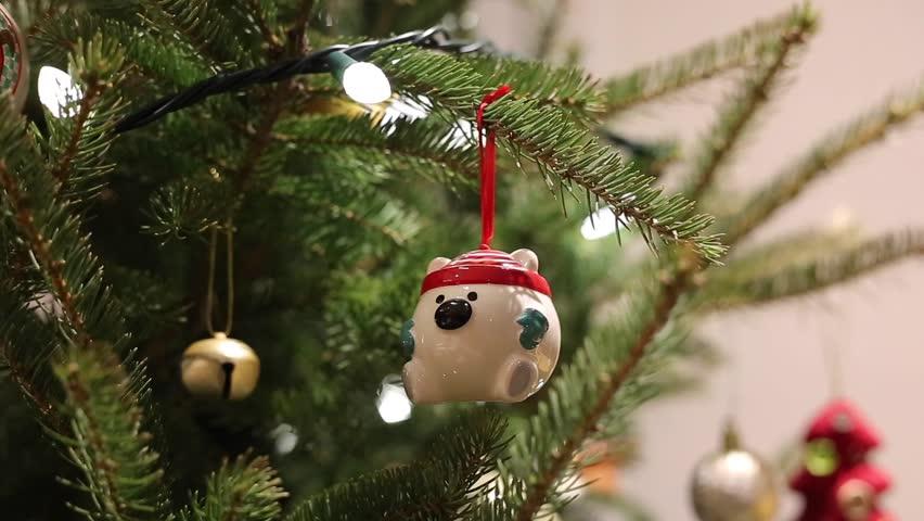 christmas tree ornament bearchristmas tree ornament bear hd stock video clip - Bear Christmas Tree