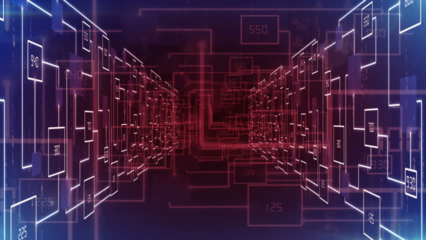 electronic circuit zoom in tunnel stock footage video (100% royalty
