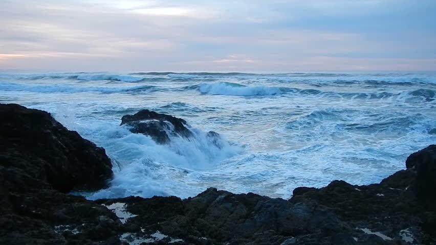 Rough seas bring waves crashing on the Oregon Coast.