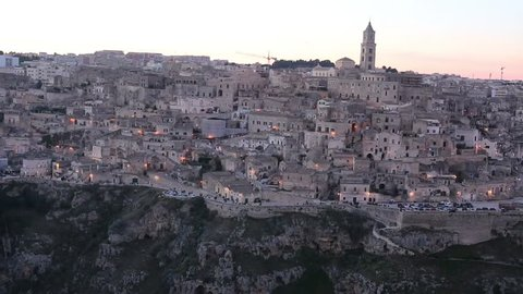 matera historic center of the city with stones carved rock houses in Basilicata