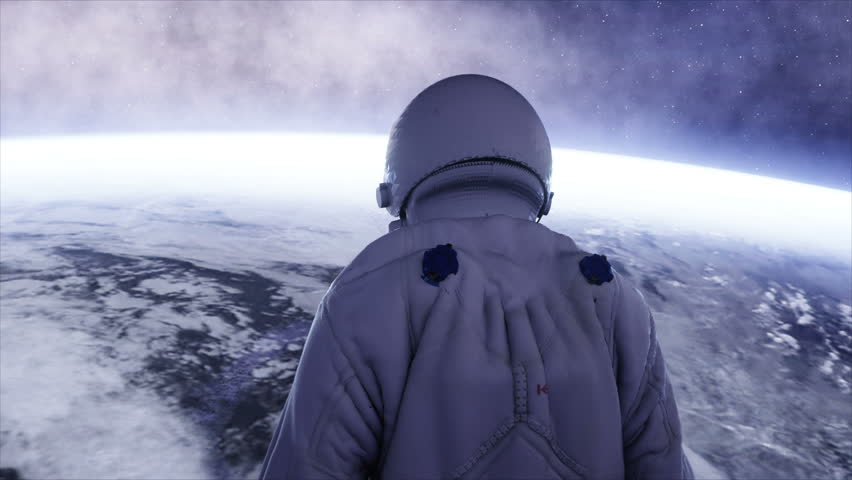 Alone astronaut in futuristic spaceship, room. view of the earth. cinematic 4k footage. | Shutterstock HD Video #23062990