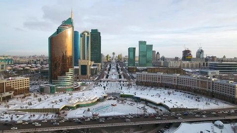 ASTANA, KAZAKHSTAN - DECEMBER 2016: The main boulevar winter view