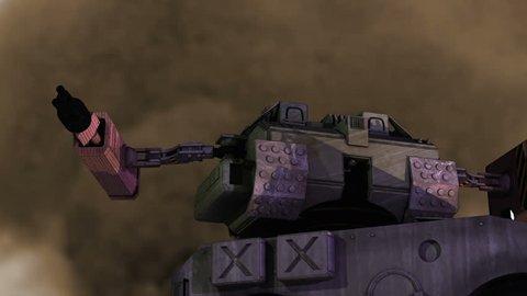 Robotic mech firing a weapon