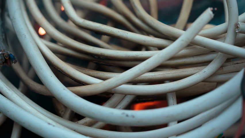 Wires On Fire. Firing Winding Stock Footage Video (100% Royalty-free) on