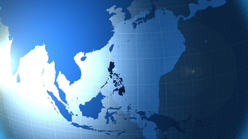 Philippines. Map. Zooming into Philippines on the globe.