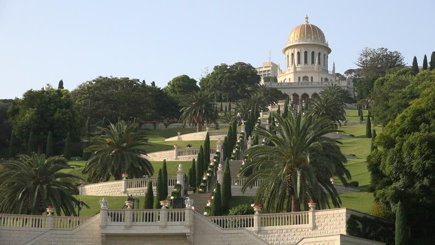 HAIFA, ISRAEL - NOVEMBER 2016: Panoramic view up towards the beautiful Bahai gardens in Haifa, Israel  | Shutterstock HD Video #23151547