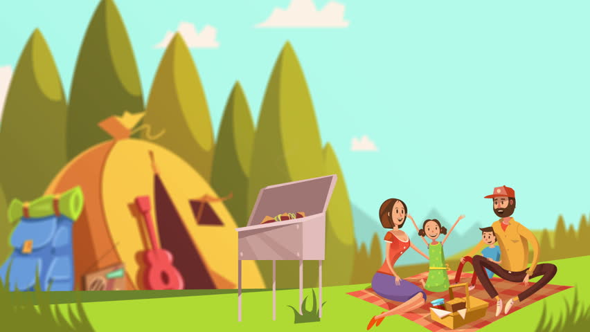 Cartoon Family Picnic Video Animation Footage