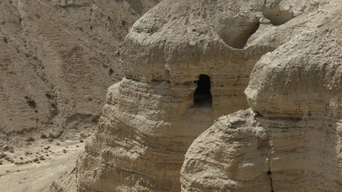 zoom in view of cave 4Q at qumran in israel that contained the most dead sea scrolls