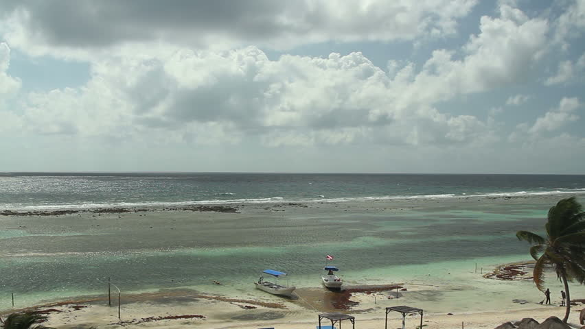 shot of the beautiful mahahual beach on the mexican caribbean coast
