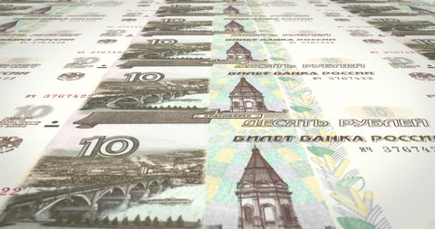 Series of banknotes of ten rubles russians of russian bank rolling on screen, coins of the world, cash money, loop