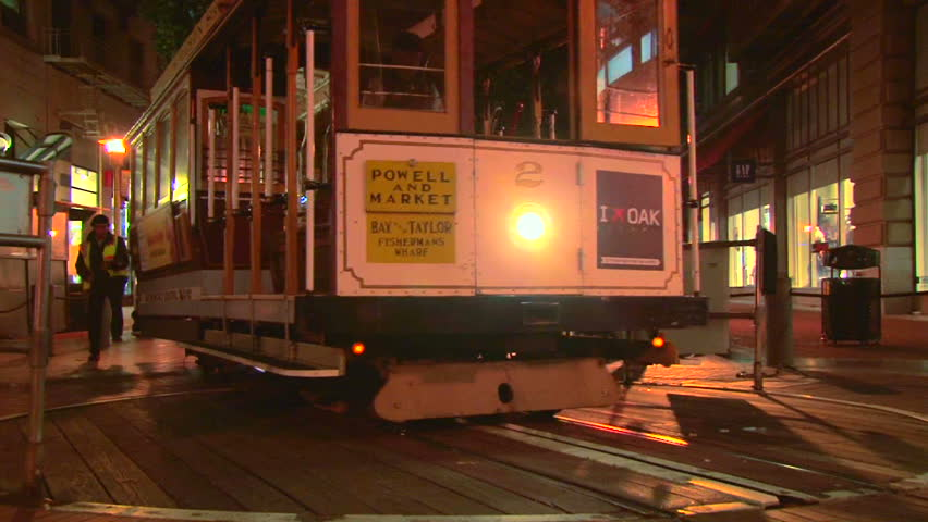 SAN FRANCISCO - CIRCA FEBRUARY 2011: cable car trolley travels down union square