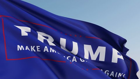 Editorial Animation: Photorealistic animation of the flag with Donald Trump's presidential campaign logo waving on the wind. Seamless Loop. 4K resolution. Another flags available - check my profile.