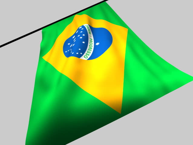 Flag of Brasil flaps in the wind